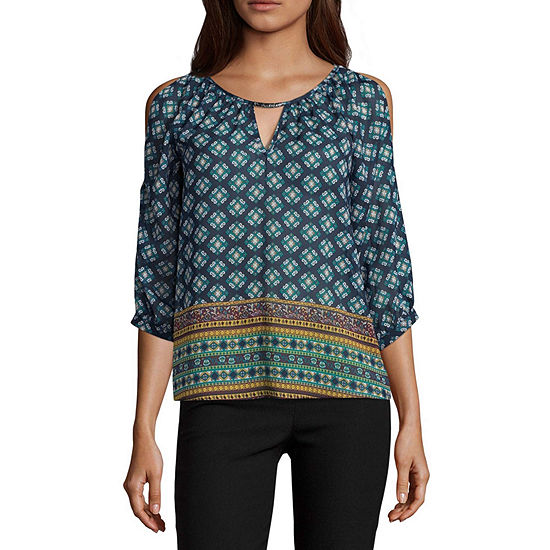 by&by-Juniors Womens Keyhole Neck 3/4 Sleeve Embellished Blouse