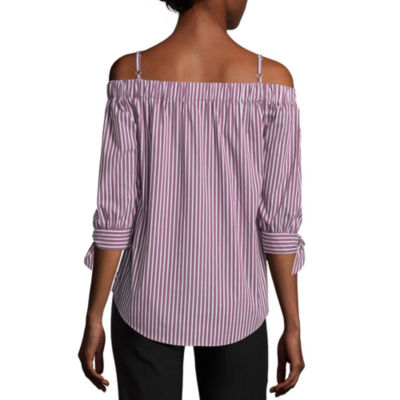 by&by 3/4 Sleeve Boat Neck Poplin Stripe Blouse-Juniors