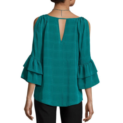 by&by Long Sleeve Round Neck Chiffon Blouse-Juniors