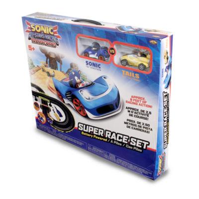 NKOK Sonic The Hedgehog All Stars Racing Transformed RC Slot Car Set Race Set - Sonic & Tails