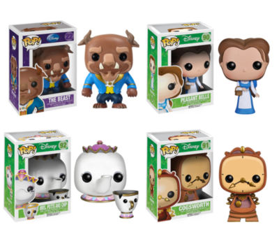 Funko Beauty And The Beast Movie POP! Disney VinylCollectors Set: The Beast- Peasant Belle- Mrs. Potts w/Chip- Cogsworth
