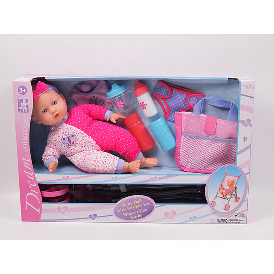 14 Inch Baby Doll With Stroller Set