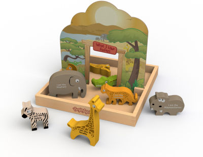 BeginAgain Toys What I Like Safari Story Box Pop Up Playset