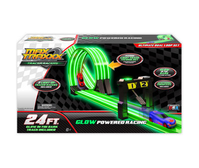 Max Traxxx 24' Tracer Racer Glow-In-The-Dark Ultimate Duel Loop Race Set