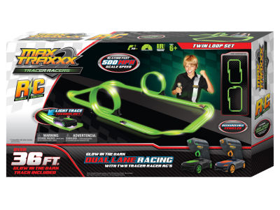 Max Traxxx Tracer Racer Glow-In-The-Dark R/C DualLoop Set - 36' Track
