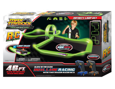 Max Traxxx Tracer Racer Glow-In-The-Dark R/C Infinite Loop Race Set - 46' Track