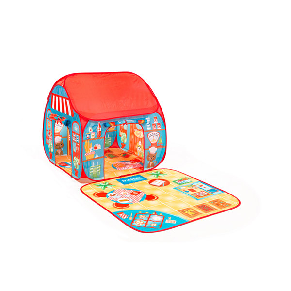 Fun2Give Pop-It-Up Restaurant and Shop Play Tent with Outside Playmat