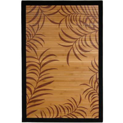 Oriental Furniture Tropical Leaf Bamboo Rectangular Rugs
