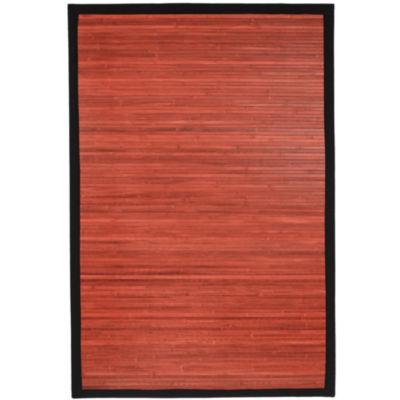 Oriental Furniture Mahogany Bamboo Rectangular Rugs
