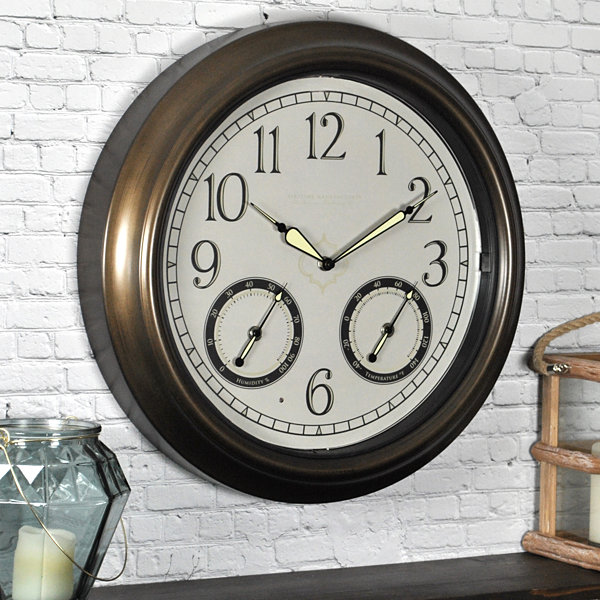 FirsTime® LED Trellis Outdoor Wall Clock