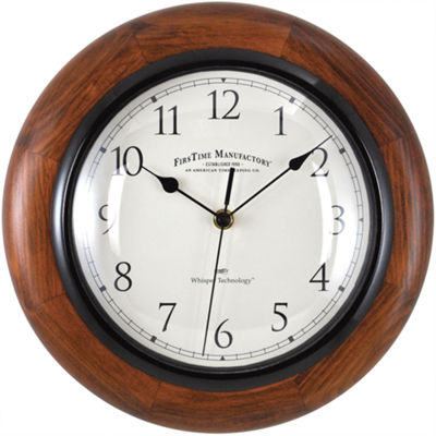 FirsTime® Walnut Round Whisper Wall Clock