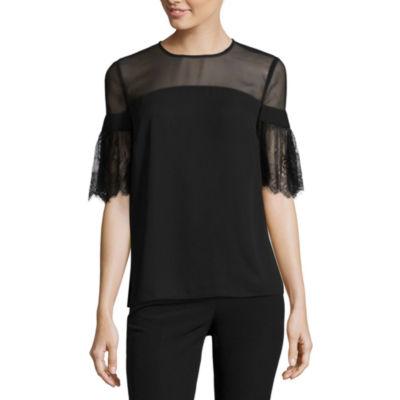 Worthington Lace Short Sleeve Blouse