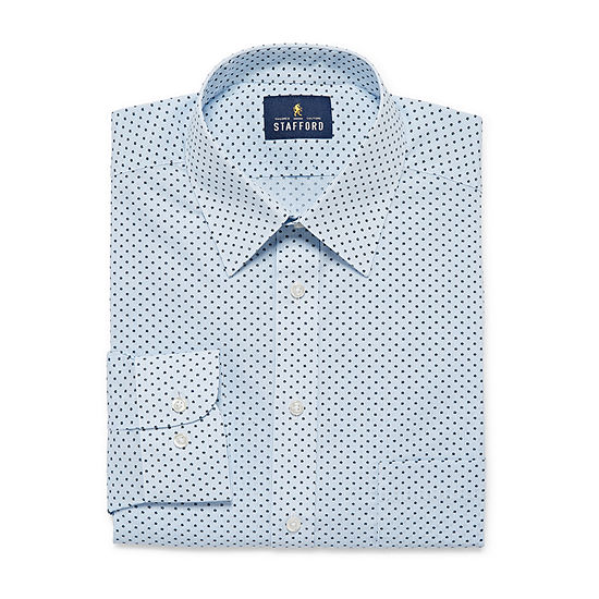 Stafford Travel Stretch Performance Super Shirt Mens Point Collar Long Sleeve Wrinkle Free Stretch Stain Resistant Dress Shirt