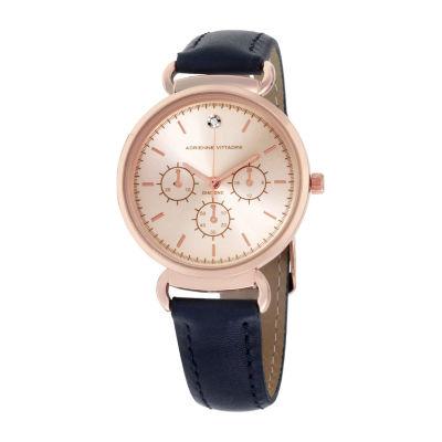 Adrienne Vittadini   Diamond Dial Womens Blue Leather Strap Watch Add12147r835-007