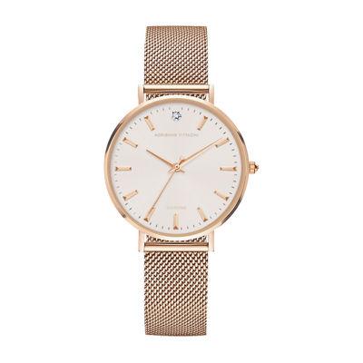 Adrienne Vittadini   Diamond Dial Womens Rose Goldtone Bracelet Watch 12965r-42-C29