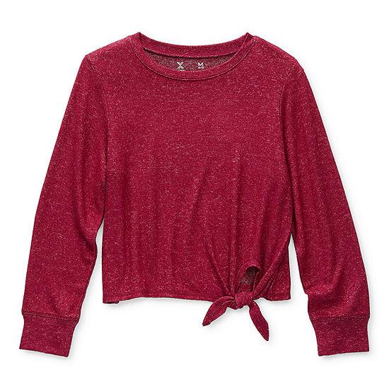 Xersion Hacci Little & Big Girls Crew Neck Long Sleeve T-Shirt