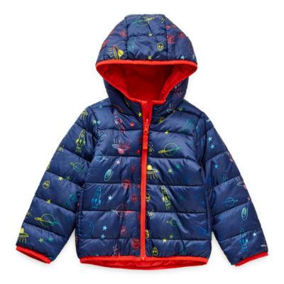 Okie Dokie Toddler Boys Hooded Packable Reversible Midweight Puffer Jacket