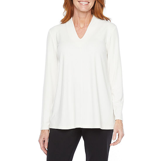Liz Claiborne Womens V Neck Long Sleeve Tunic Top
