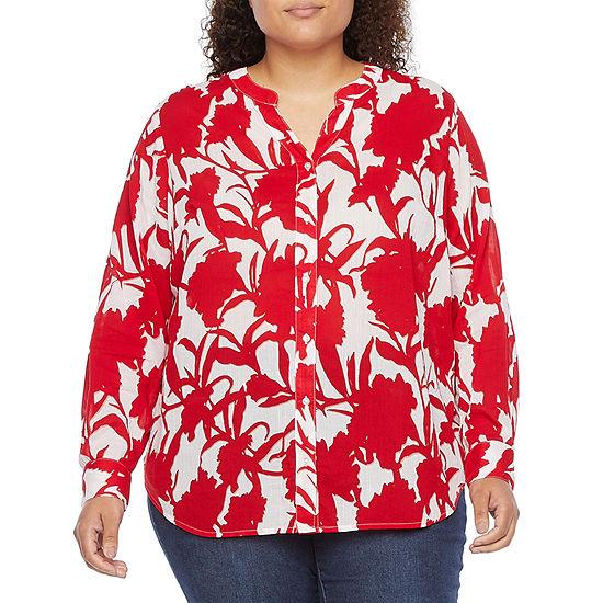 Liz Claiborne Plus Womens Long Sleeve Regular Fit Button-Down Shirt