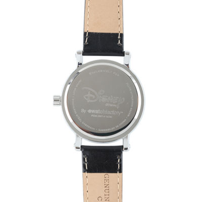 Disney Mickey Mouse and Minnie Mouse Womens Black Leather Strap Watch