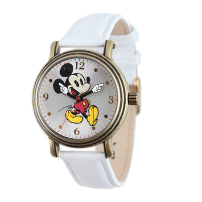 Disney Mickey Mouse Womens White Leather Strap Watch