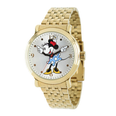 Disney Minnie Mouse Womens Gold-Tone Stainless Steel Watch