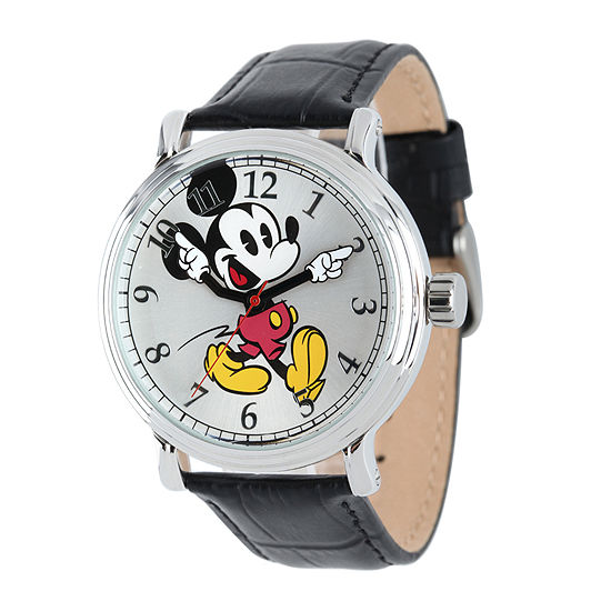 Mickey Mouse Watch Value >> Disney Mickey Mouse Mens Black Leather Strap Vintage Style Watch