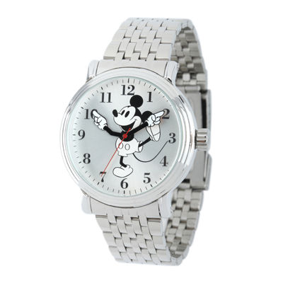 Disney Mickey Mouse Mens Stainless Steel Vintage-Style Watch