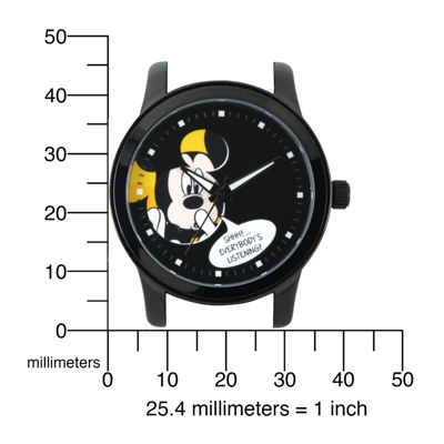 Disney Mickey Mouse Mens Black Stainless Steel Watch