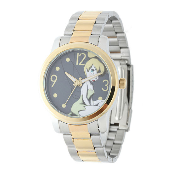 Disney Tinker Bell Womens Two-Tone Stainless Steel Watch