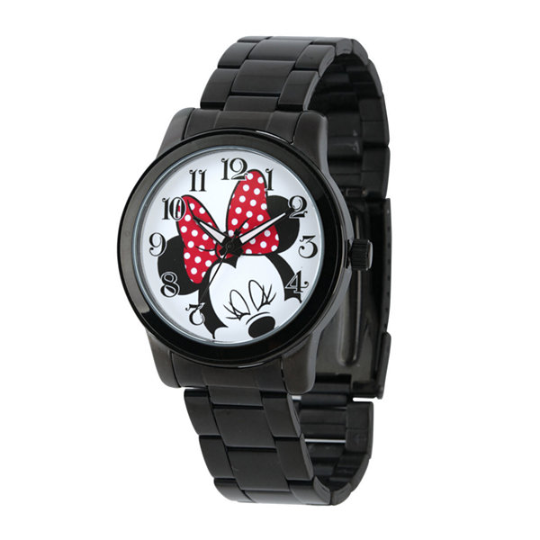 Disney Minnie Mouse Womens Black Stainless Steel Watch