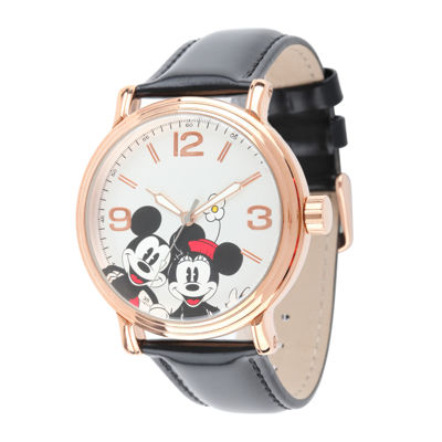 Disney Mickey Mouse and Minnie Mouse Black Leather Strap Womens Watch
