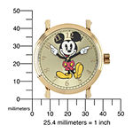 Disney Mickey Mouse Mens White Leather Strap Vintage-Style Watch