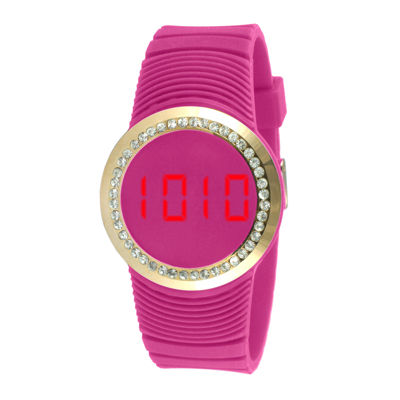 TKO ORLOGI Womens Crystal-Accent Pink Silicone Strap Touch Digital Sport Watch