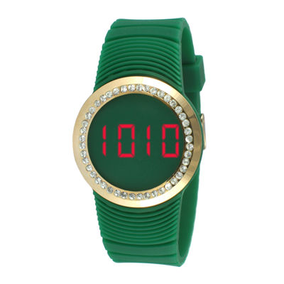 TKO ORLOGI Womens Crystal-Accent Green Silicone Strap Touch Digital Sport Watch