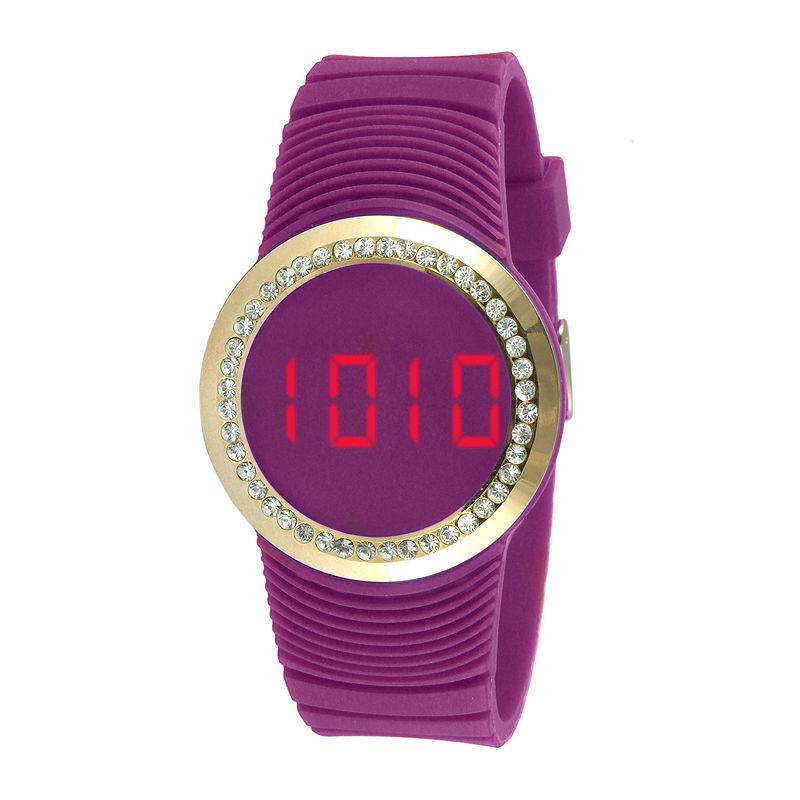 TKO ORLOGI Womens Crystal-Accent Purple Silicone Strap Touch Digital Sport Watch