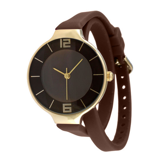 TKO ORLOGI Womens Brown Silicone Strap Wrap Watch