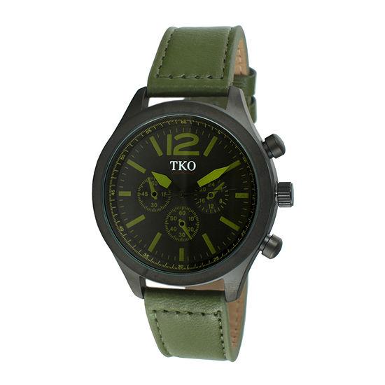 TKO ORLOGI Mens Green Leather Strap Multifunction-Look Watch