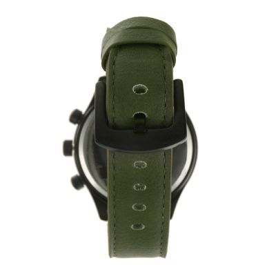 TKO ORLOGI Mens Green Leather Strap Multifunction-Look Watch