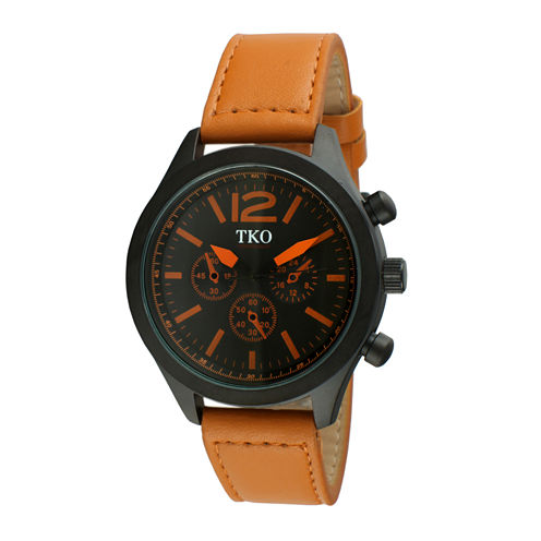TKO ORLOGI Mens Orange Leather Strap Multifunction-Look Watch