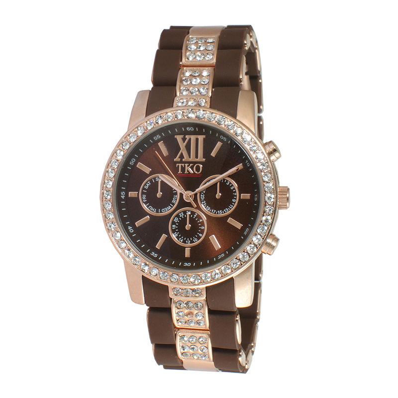 TKO ORLOGI Womens Crystal-Accent Brown Dial Multifunction-Look Bracelet Watch
