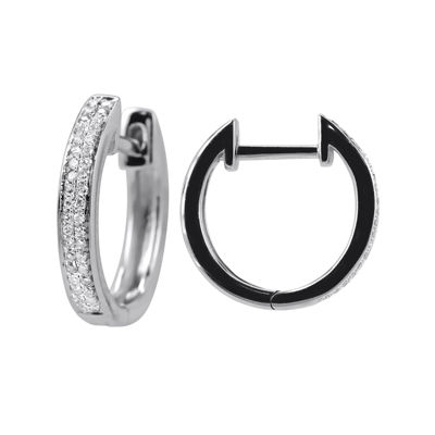 LIMITED QUANTITIES 1/7 CT. T.W. Diamond 14K White Gold Hoop Earrings