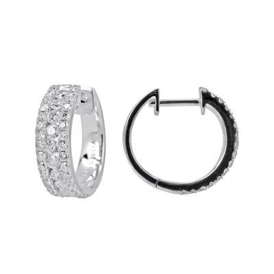 LIMITED QUANTITIES 1 CT. T.W. Diamond 14K White Gold Huggie Hoop Earrings