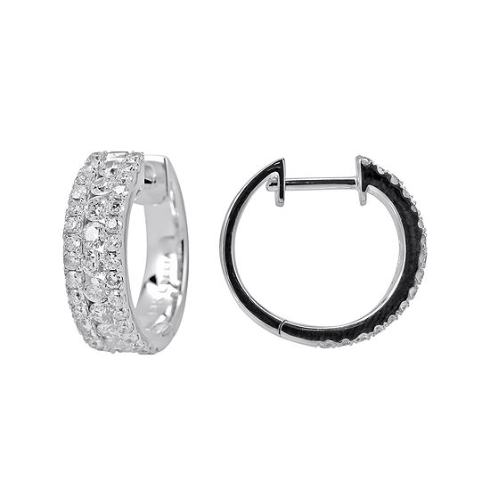T W Diamond 14k White Gold Huggie Hoop Earrings