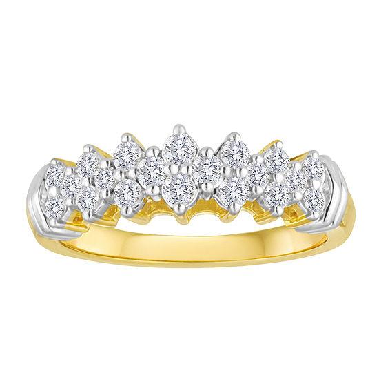 1/2 CT. T.W. Diamond 10K Yellow Gold Pyramid Ring