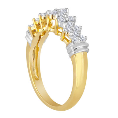 1/2 CT. T.W. Diamond 10K Yellow Gold Pyramid Ring