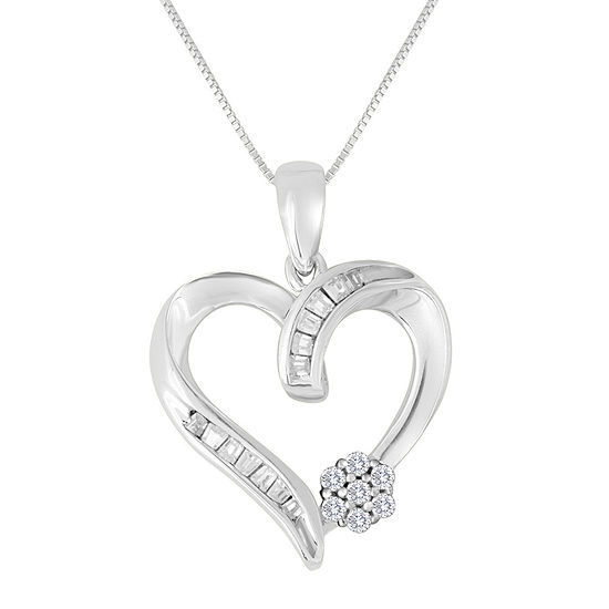 diamond blossom 1/5 CT. T.W. Diamond 10K White Gold Heart Pendant Necklace