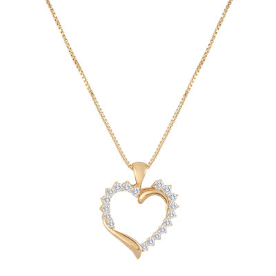 1/2 CT. T.W. Diamond 10K Rose Gold Heart Pendant Necklace