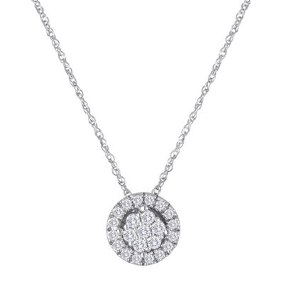 diamond blossom 1/5 CT. T.W. Diamond 10K White Gold Halo Pendant Necklace