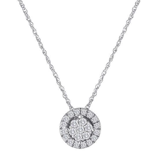 diamond blossom 1/5 CT. T.W. Diamond 10K White Gold Halo Pendant Necklace